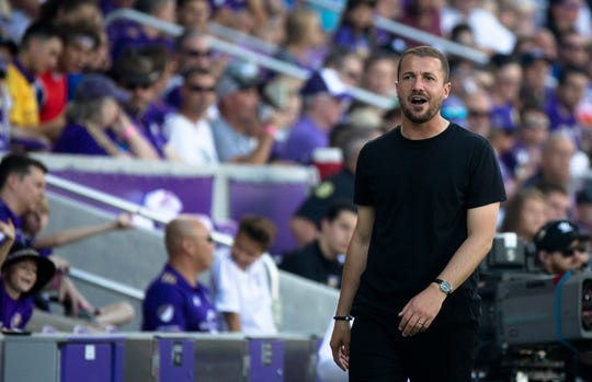 FC Cincinnati coach Yoann Damet walks the sideline during the 5-1 loss to Orlando City at Orlando City Stadium in Orlando, Fla., on Sunday, May 19, 2019.