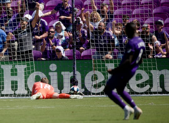 FC Cincinnati goalkeeper Spencer Richey (18) looks on as the ball hits the back of the net for Orlando City tying goal during the match between FC Cincinnati and Orlando City at Orlando City Stadium in Orlando, Fla., on Sunday, May 19, 2019.
