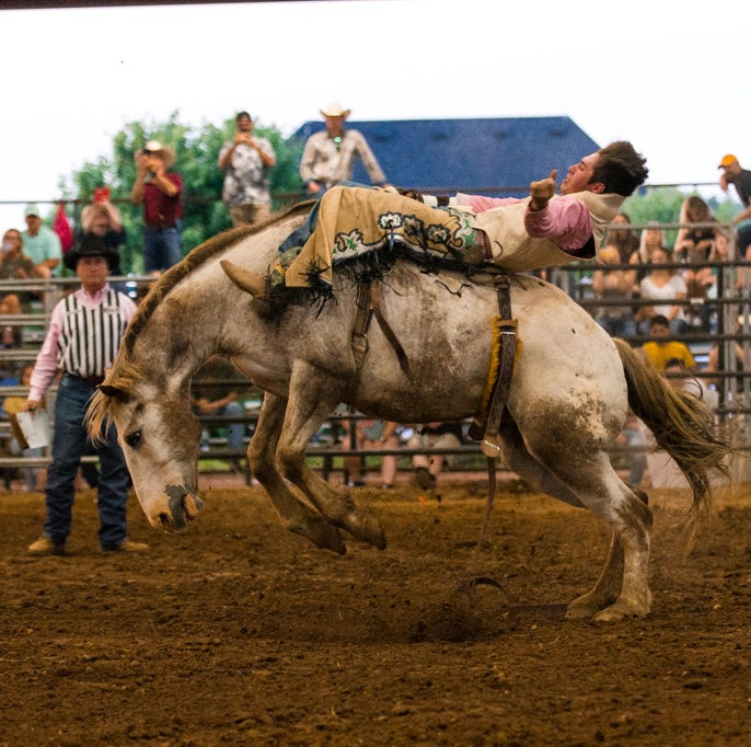Kiwanis Rodeo features broncos, clowns and a horse collision