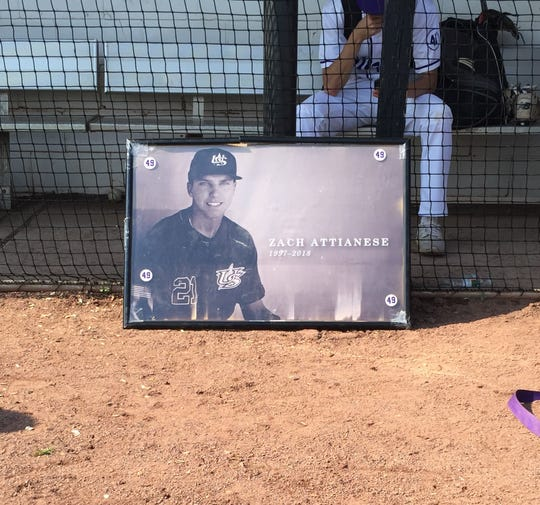 Framed photo of Zach Attianese in Old Bridge dugout