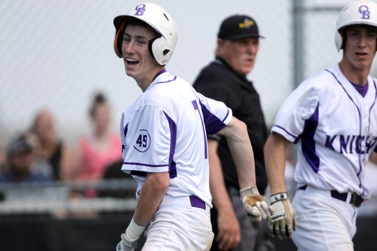 John Cardile, of Old Bridge, is all smiles after he scored a run in the second inning, putting the Knights up, 2-1. Sunday, May 19, 2019