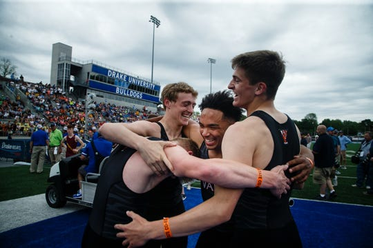 Valley's 4x100 team reacts after winning the race at the 2019 High School State Track Meet on Saturday, May 18, 2019, in Des Moines.