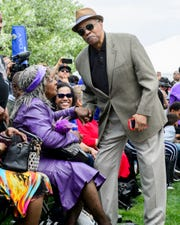 Motown musical arranger Paul Riser greets legendary singer Martha Reeves during the annual Founder's Day event at the Motown Museum in Detroit on Sunday.