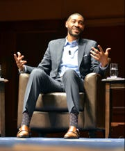 Jimmy King at the Fab 5 Forum on the University of Michigan campus in Ann Arbor in 2016.