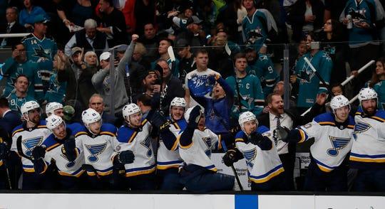St. Louis' bench celebrates a goal by Vladimir Tarasenko in Game 5.