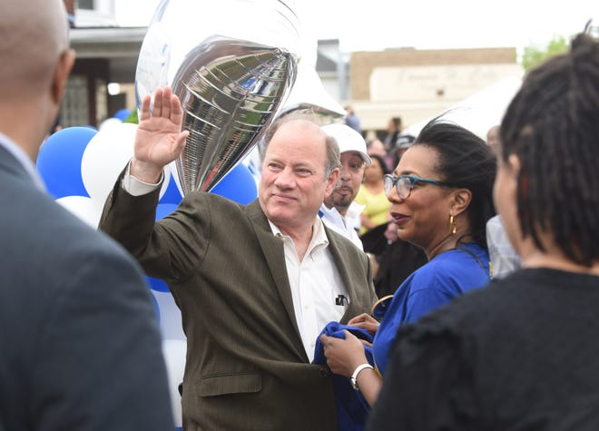 Detroit Mayor Mike Duggan greets the crowds at the Motown Museum.