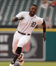 Detroit's Niko Goodrum leads off the game with a triple.