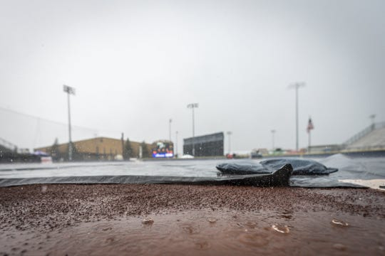 Rain postponed Sunday's action at Alumni Field until Monday.