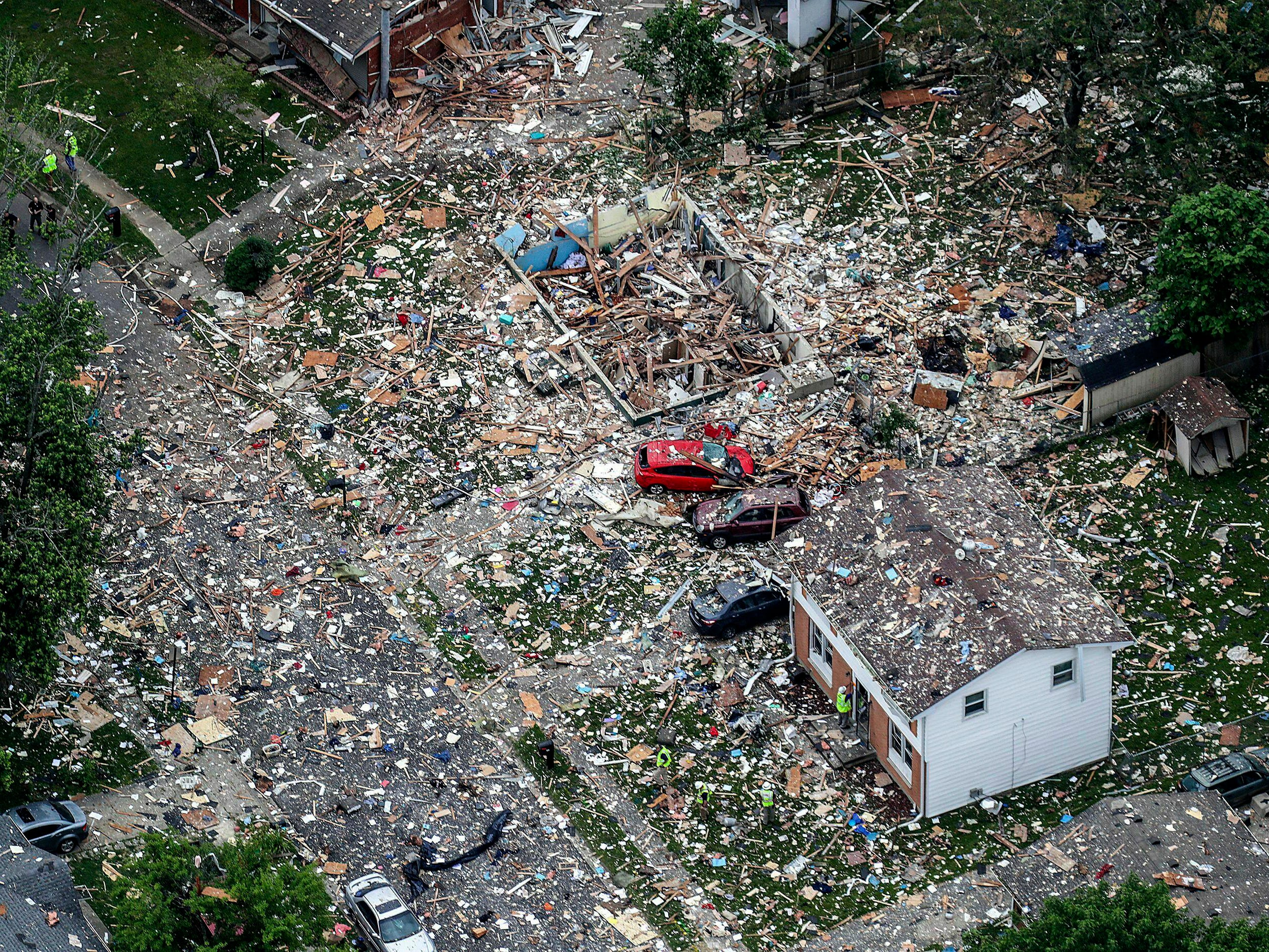 This aerial photo shows the scene of a deadly home explosion in Jeffersonville, Ind., on Sunday, May 19, 2019.