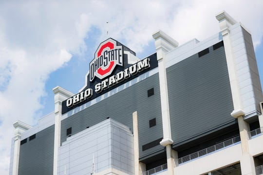 The back of the scoreboard is pictured at Ohio State University's football stadium on Saturday.