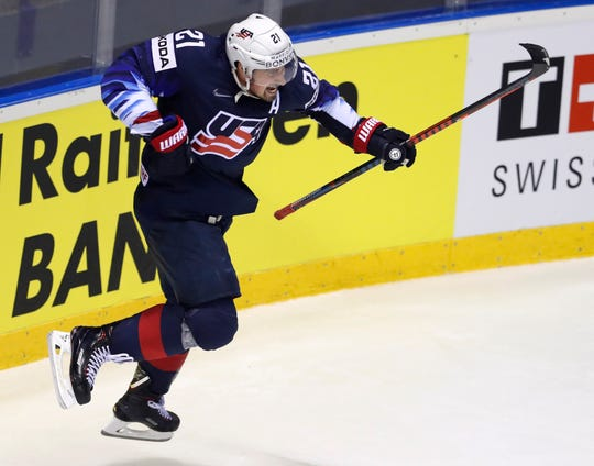 Dylan Larkin of the U.S. celebrates after scoring his team's second goal against Germany.