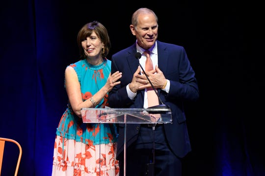 Former Michigan coach John Beilein, with wife Kathleen, speaks at the  Champions for Change gala on Saturday night.