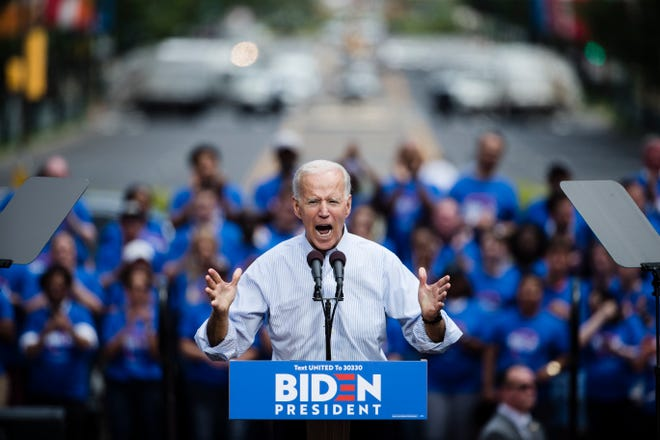 Democratic presidential candidate, former Vice President Joe Biden during a campaign rally at Eakins Oval in Philadelphia, Saturday, May 18, 2019.