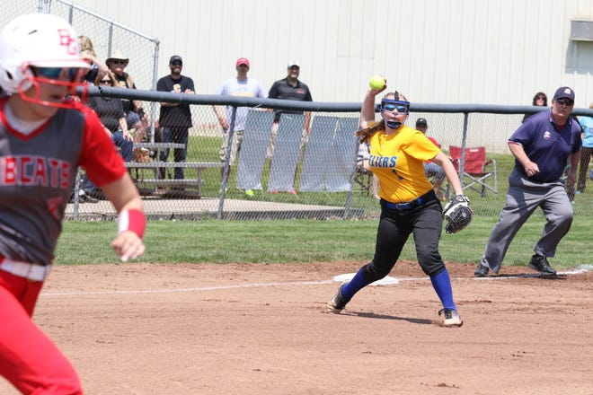 Clyde's Kendall Bailey throws to first for the out against Bowling Green.