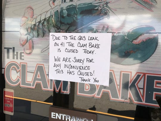 A gas leak Saturday and remaining effects Sunday morning forced The Clam Bake, in the Island Park Center at Island Park Drive and 41, to post a sign  saying they were closed and apologizing to possible customers.