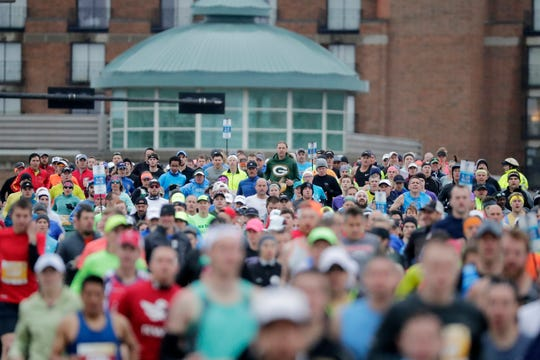 Runners start the Cellcom Half Marathon on Sunday, May 19, 2019 in Green Bay, Wis.