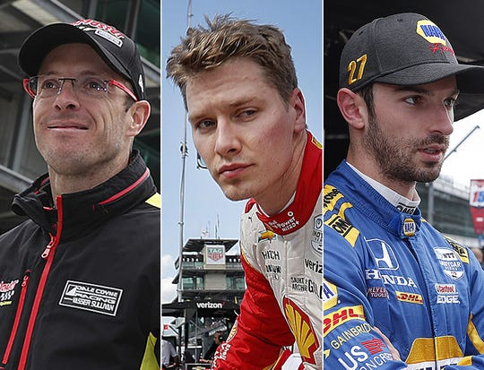 Sebastien Bourdais (from left), Josef Newgarden and Alexander Rossi make up the third row of the Indianapolis 500.