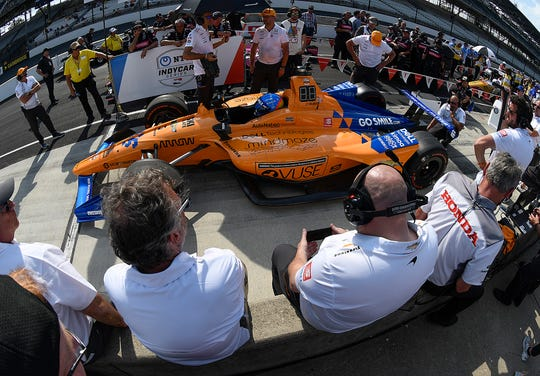Fernando Alonso (66) of McLaren Racing prepares to hit the track for his qualifying run for the Indianapolis 500 at the Indianapolis Motor Speedway on Saturday, May 18, 2019.