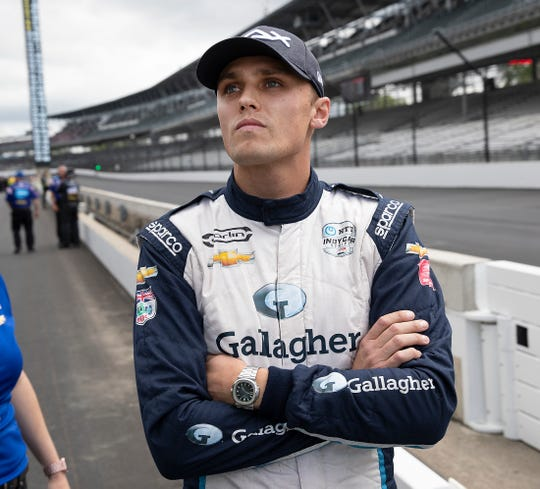 A dejected Max Chilton (59) of Carlin Racing after he heard that he did not make the field for the Indianapolis 500 on Bump Day at the Indianapolis Motor Speedway on Sunday, May 19, 2019.