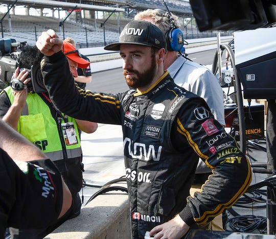 James Hinchcliffe (5) of Arrow Schmidt Peterson Motorsports following his qualifying run for the Indianapolis 500 at the Indianapolis Motor Speedway on Saturday, May 18, 2019.