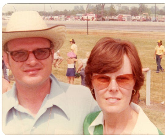 Scott McAtee and his wife, Glenda, at the Indianapolis 500 in the mid 1970s.