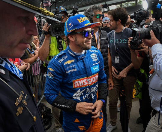 Fernando Alonso (66) of McLaren Racing reacts the moment he saw that he did not make the field of 33 car for the Indianapolis 500 on Bump Day at the Indianapolis Motor Speedway on Sunday, May 19, 2019.