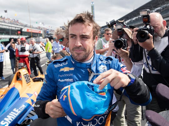 Fernando Alonso (66) of McLaren Racing following his qualifying run for the Indianapolis 500 at the Indianapolis Motor Speedway on Sunday, May 19, 2019.