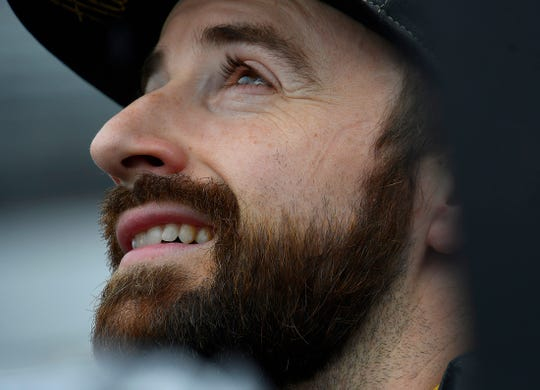James Hinchcliffe (5) of Arrow Schmidt Peterson Motorsports looks toward the rainy skies during their morning practice for the Indianapolis 500 at the Indianapolis Motor Speedway on Sunday, May 19, 2019.