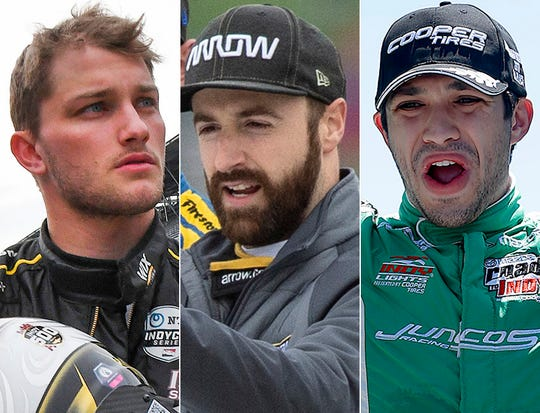 Sage Karam (left), James Hinchcliffe and Kyle Kaiser make up Row 11 of the 2019 Indianapolis 500.