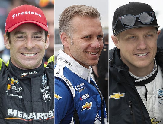 Simon Pagenaud (left) is the pole-sitter, and Ed Carpenter (middle) and Spencer Pigot are also on the front row for the 2019 Indianapolis 500.