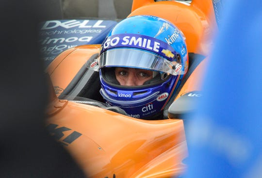 Fernando Alonso (66) of McLaren Racing sits in his car during their morning practice for the Indianapolis 500 at the Indianapolis Motor Speedway on Sunday, May 19, 2019.