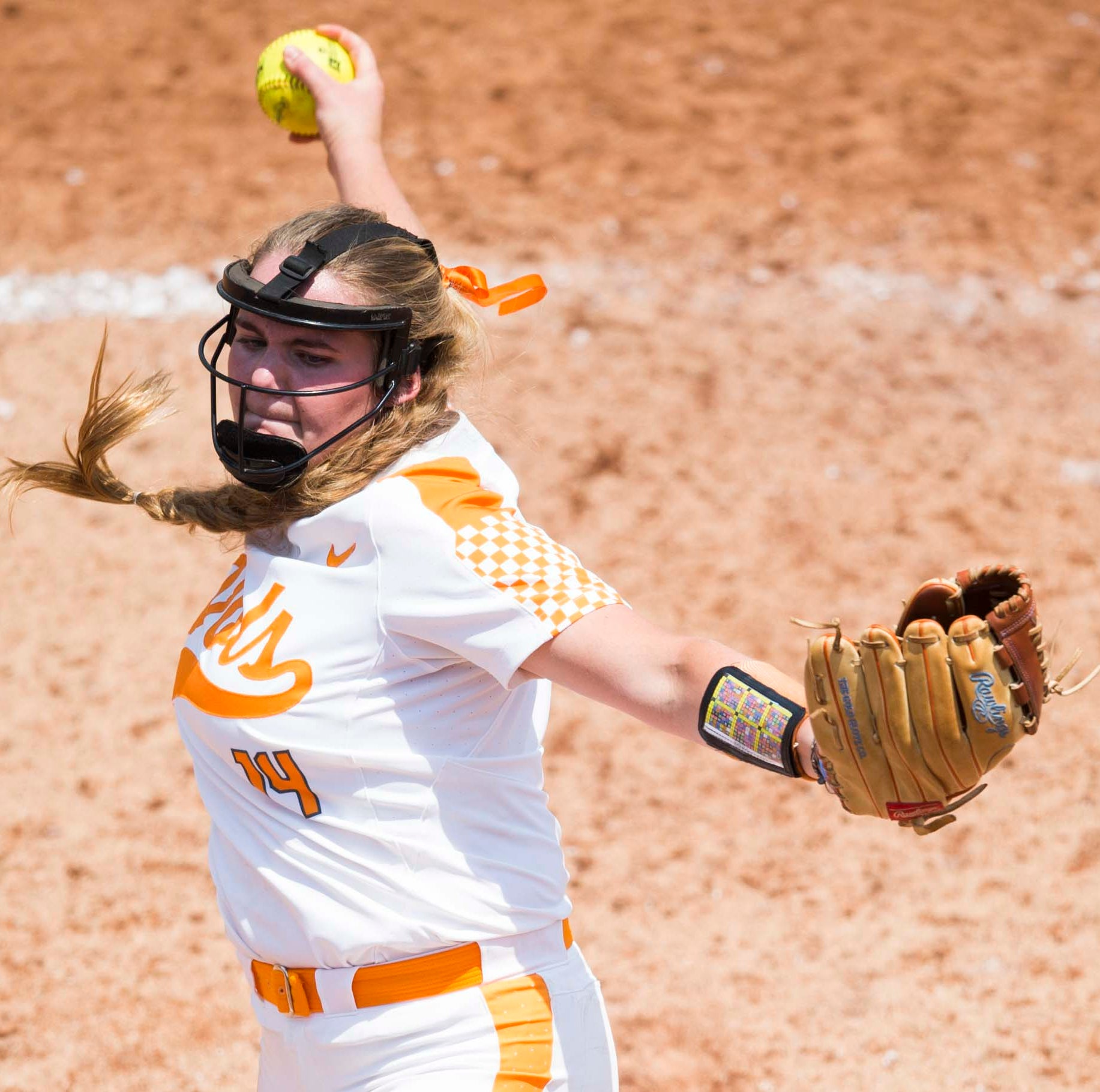 Tennessee's Ashley Rogers (14) pitches the ball during a NCAA Tournament softball game between the Lady Vols and North Carolina, at Sherri Lee Parker Stadium in Knoxville, Sunday, May 19, 2019. North Carolina defeated Tennessee 1-0.