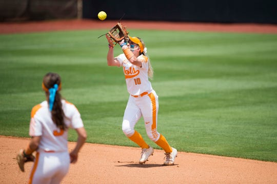 Tennessee's Aubrey Leach (10) makes a catch during a NCAA Tournament softball game between the Lady Vols and North Carolina, at Sherri Lee Parker Stadium in Knoxville, Sunday, May 19, 2019. North Carolina defeated Tennessee 1-0.