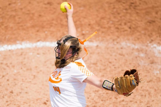 Tennessee's Ashley Rogers (14) pitches during a NCAA Tournament softball game between the Lady Vols and North Carolina, at Sherri Lee Parker Stadium in Knoxville, Sunday, May 19, 2019. North Carolina defeated Tennessee 1-0.