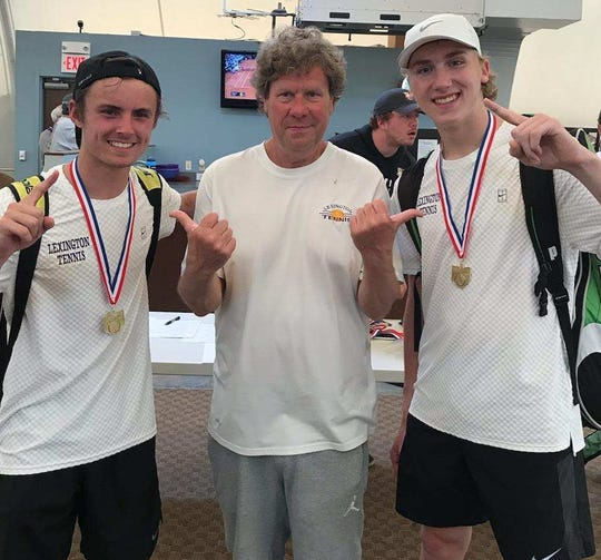 Lexington coach Ron Schaub with his state-bound doubles team of Blake Webster (left) and Benton Drake.