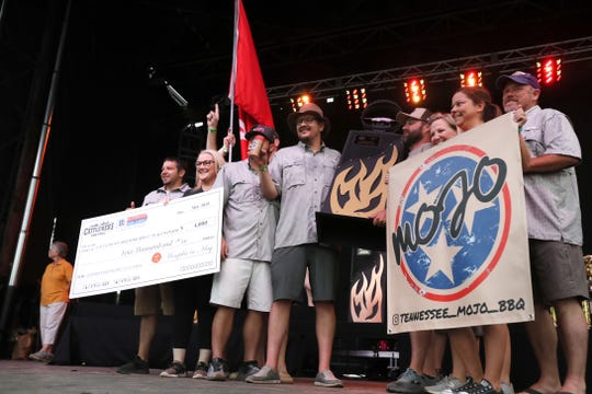 Nutts N Butts announced as first place winners in the Rib category in a culmination of the Memphis in May World Championship Barbecue Cooking Contest in Tom Lee Park on Saturday, May 18, 2019