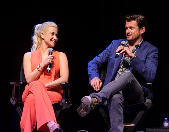 Kellie Pickler and Wes Brown speak during a party Hallmark threw for fans in Graceland on Saturday, May 18, 2019, in Memphis, Tenn.