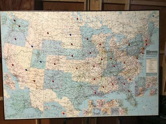 "Fans attending Hallmark Channel's ""Fan Celebration"" at Graceland marked a map of the United Stats with pins to show how far they had traveled for the weekend event."