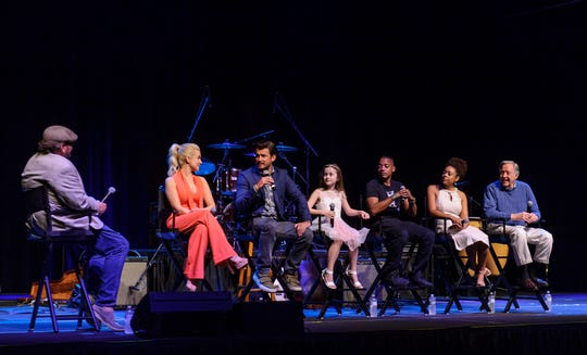 Hallmark stars line the stage at a party for fans in Graceland on Saturday, May 18, 2019, in Memphis, Tenn.