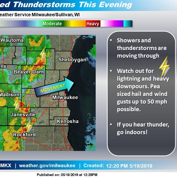Thunderstorms moving through southeastern Wisconsin
