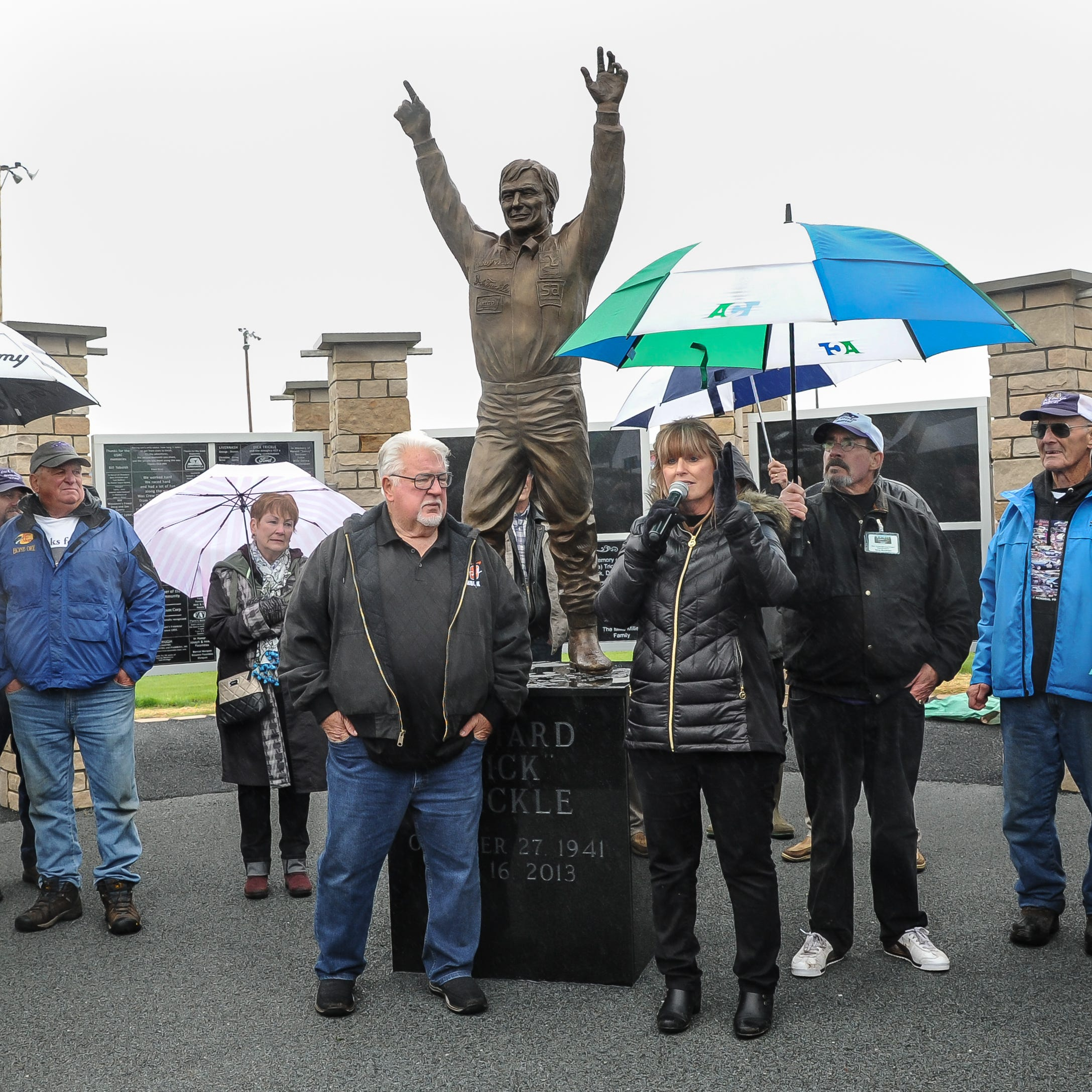 Family, friends and fans turned out in the rain to honor Dick Trickle with a statue, tall tales and a couple of PBRs