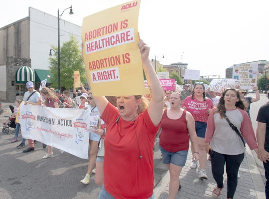 The March for Reproductive Freedom is held in downtown Montgomery, Ala., on Sunday afternoon May 19, 2019.