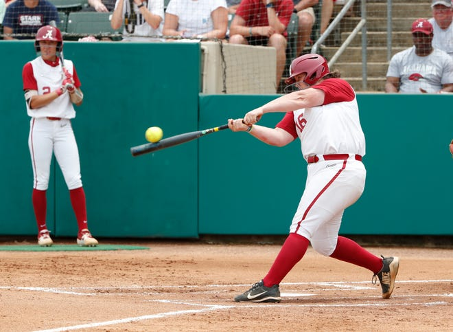 Alabama junior slugger Bailey Hemphill hits a grand slam in a five-run fifth inning of Sunday's 9-8 win over Arizona State in the Tuscaloosa Regional finale on May 19, 2019 from Rhoads Stadium in Tuscaloosa. (Photo by Robert Sutton/Alabama athletics)