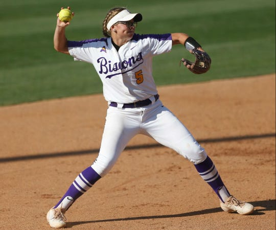Junior Peyton Ward throws out a batter during Lipscomb's 10-1 loss Saturday to Arizona State in the NCAA Softball Tournament.