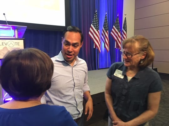 Presidential candidate Julián Castro visits with Tennessee voters Sunday at Middle Tennessee State University