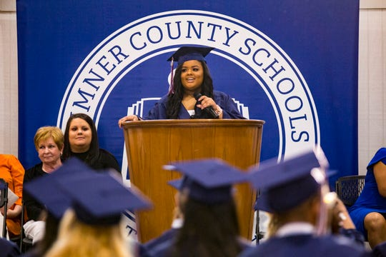Shania Russell speaks during the E.B. Wilson Virtual High School graduation ceremony at the Sumner County Schools Central Office in Gallatin on Friday, May 17, 2019.