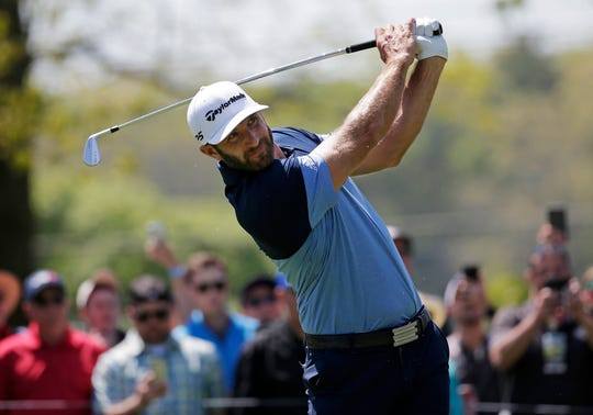 Dustin Johnson, drives off the sixth tee, during the third round of the PGA Championship golf tournament, Saturday, May 18, 2019, at Bethpage Black in Farmingdale, N.Y.