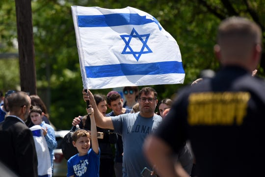 A fundraising event for Magen David Adom, Israel's national EMS organization, was held at Congregation Beth Sholom in Teaneck on Sunday, May 19, 2019. Israel supporters outside of the event.