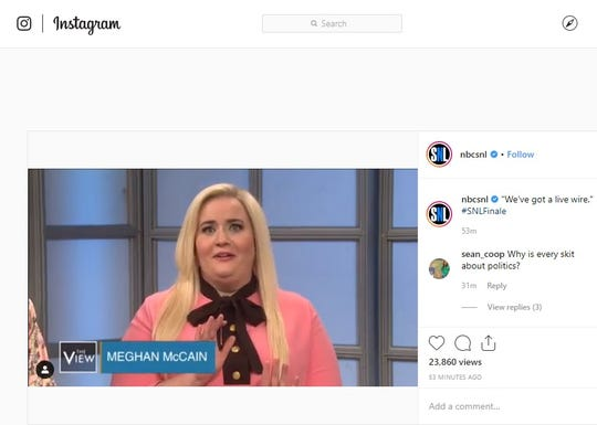A screenshot from the Instagram account for 'Saturday Night Live' shows Aidy Bryant as Meghan McCain on the show.
