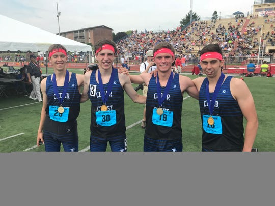 Cedar Crest's 3A champion 4 x 800 relay team of, from left, William Sheffield, Nate Shutter, Jake Barrett and Ryan Scicchitano.